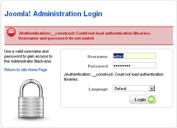 joomla JAuthentication hatasi